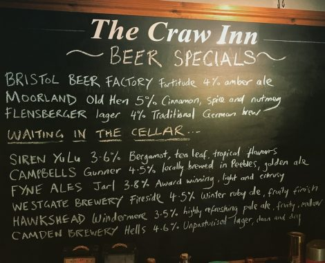 craw inn beer board